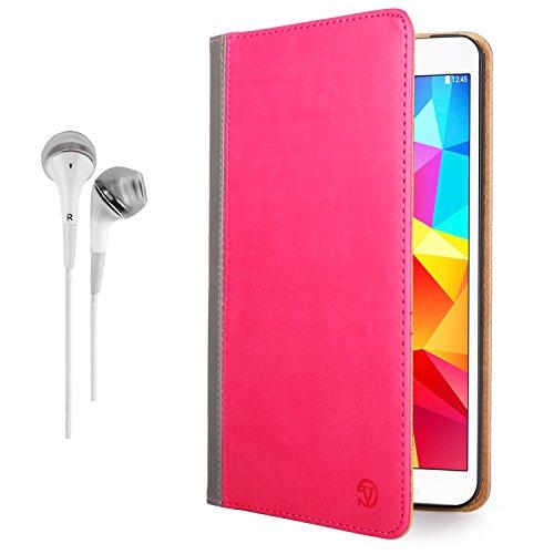 Vangoddy Mary Portfolio Pink Magenta Grey Multi Purpose Book Style Slim Flip Cover Case For Samsung Galaxy Tab 4 8.0' Android + White Hands-Free Microphone Earphones Headphones