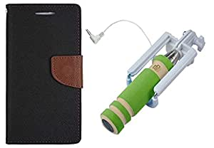 Novo Style Book Style Folio Wallet Case Xiaomi Mi 4 Black + Wired Selfie Stick No Battery Charging Premium Sturdy Design Best Pocket Sized Selfie Stick