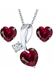 2.71 Ct Heart Shape Red Created Ruby 925 Sterling Silver Pendant Earrings Set