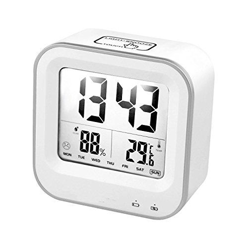 bestfire-digital-alarm-clock-with-week-temperature-humidity-display-light-activated-night-light-usb-