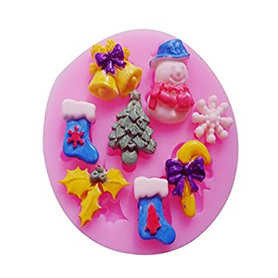 Christmas Tree Snowman Sock Ring Bell Snowflake Shape 3d DIY Silicone Mould Cake Decorating Mold Chocolate Candy Making Mold Tools Clay Sculpture Shaping Mold Tools