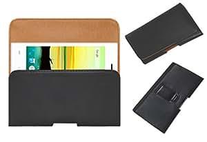 Acm Belt Holster Case For Lava A76 4g Mobile Leather Cover Magnetic Closure Clip Black