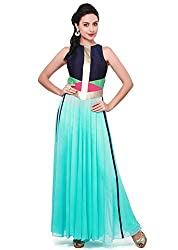 Granth Lifestyle Georgette Solid Bollywood Skyblue Long Women's Kurti