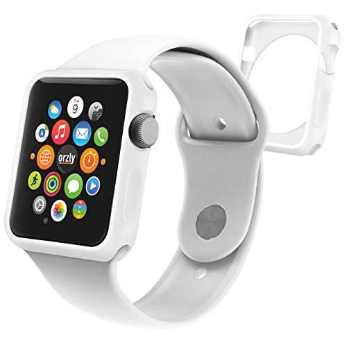 Orzly® - FlexiCase FacePlate for APPLE WATCH (42mm) - Protective Flexible Silicon Gel Case in WHITE - Retail Packed & Designed by Orzly® specifically for use with the APPLE WATCH (For 42mm Version of All 2015 Models - BASIC / SPORT / EDITION)