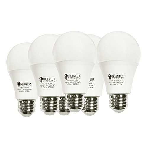 Green Lux Energy LED A19 - 60- Watt Equivalent (9W) Soft White (2700K) General Purpose Light Bulb - 6 Pack