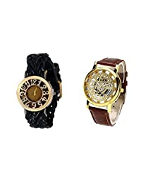 COSMIC COUPLE WATCH- BLACK DESIGNER ANALOG WATCH FOR WOMEN AND BROWN SKELETON WATCH FOR MEN- PACK OF 2