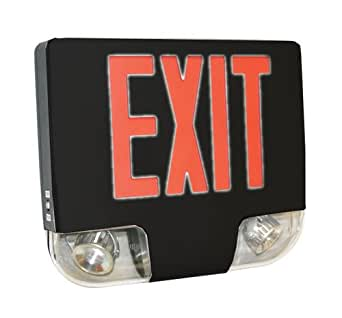 Wall Mounted Exit Lights : Black Aluminum Red LED Exit Sign Combo with LED Lights 400C-U-BB Wall-Mounted Indoor ...