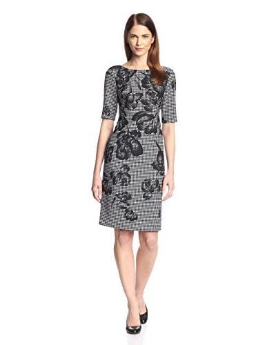 Donna Ricco Women's Elbow Sleeve Printed Sheath Dress