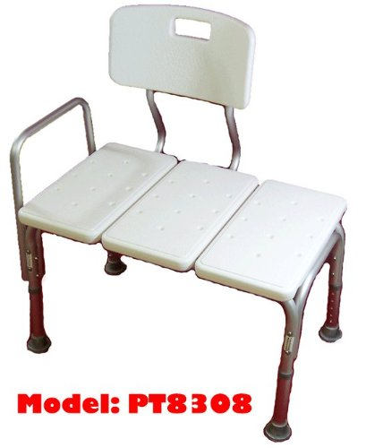 MedMobile® BATHTUB TRANSFER BENCH / BATH CHAIR WITH BACK, WIDE SEAT, ADJUSTABLE SEAT HEIGHT, SURE-GRIPED LEGS, LIGHTWEIGHT, DURABLE, RUST-RESISTANT SHOWER BENCH (Handicap Tub Seat compare prices)