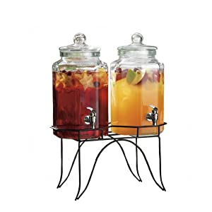 Del Sol Set Of 2 Glass Juice Beverage Dispensers On Rack by Home Essentials