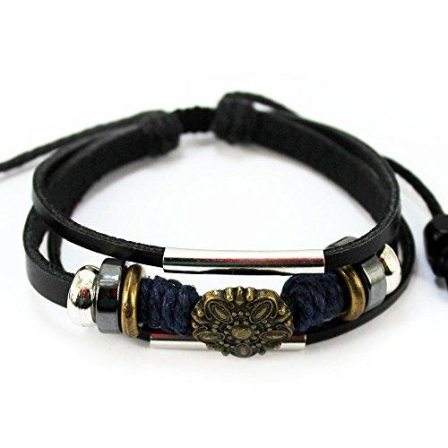 Wild Wind Unique Metal Button Ring Tube Multistrand Leather Adjustable Wrap Bracelet