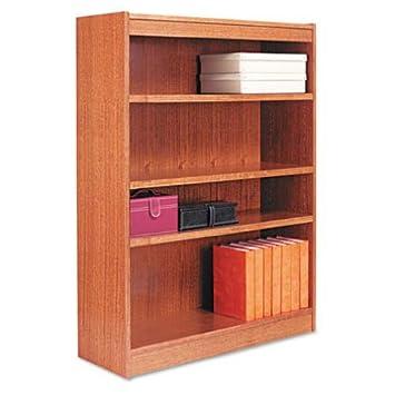 Aleraamp;reg; - Square Corner Wood Veneer Bookcase, 4-Shelf, 35-3/8w x 11-3/4d x 48h, Medium Oak - Sold As 1 Each - Full-finished back provides a professional appearance.