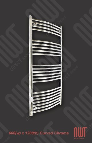 600 x 1200 Heated Towel Rail / Radiator / Warmer - Curved Chrome 2330 BTU's