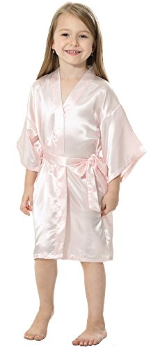 Joytton Kids' Satin Rayon Kimono Robe Bathrobe Nightgown (4,Pink)