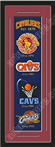 Heritage Banner Of Cleveland Cavaliers With Team Color Double Matting-Framed Awesome... by Art and More, Davenport, IA