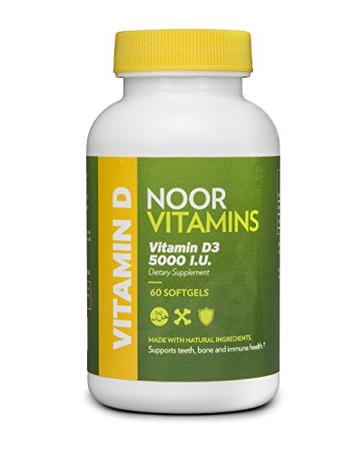 NoorVitamins Vitamin D3 5000 IU - 60 Softgels - Halal Vitamins (Halal Vitamin D compare prices)