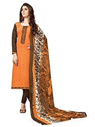 Women Icon Presents Orange Embroidered Un-Stitched Dress Material WICKFBRCZB1012