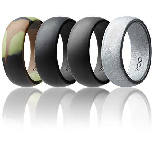 Silicone Wedding Ring For Men By ROQ Affordable Silicone Rubber Band, 4 Pack - Camo, Metal Look Silver, Black, Grey - 9