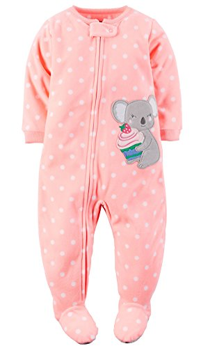 Carter's Baby-girls' 1 Pc Fleece Footed Blanket Sleeper Pajamas (18 Months, Peach Koala)