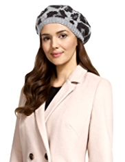 M&S Collection Leopard Print Knitted Beret Hat with Angora