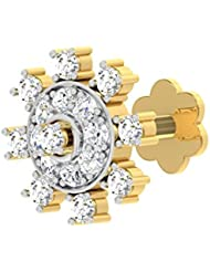 TBZ - The Original 18k (750) Yellow Gold And Diamond Floral Screw  Nosepin