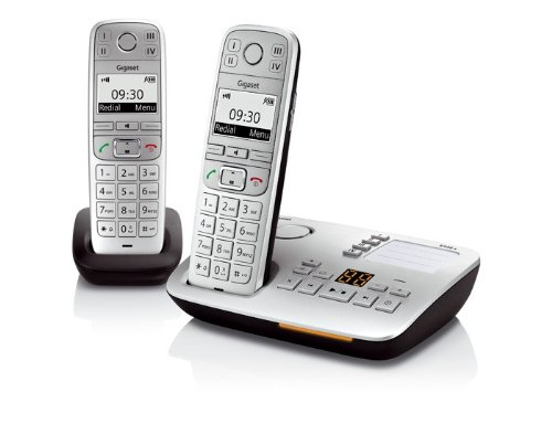 Gigaset E500A Big Button Twin DECT Cordless Phone with SOS Function and Hearing Aid Compatibility - Silver Black Friday & Cyber Monday 2014