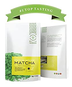 Greenhouse Superfoods :: Rated Top Tasting Matcha on Amazon :: 5% Donated to Cancer Cure Research :: Organic Ceremonial Green Tea Powder :: 35g Bonus Size ::120% Money Back Guarantee