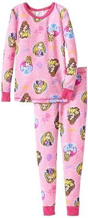 Komar Kids Little Girls'  Princess Tight Fitting Thermal Pajama Set, Pink, 4