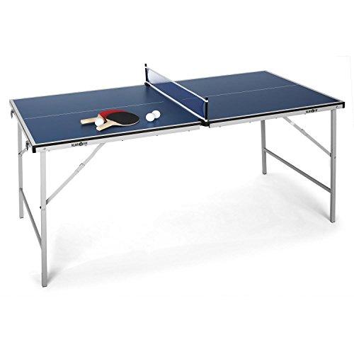 Klarfit King Pong Mini-Tischtennisplatte für Kinder Tischtennisplatte Set inkl. Zubehör (klappbar, 75x 150cm Spielfläche, inkl. 3 Bälle und 2x Tischtenniskelle)