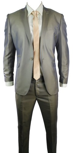Mens Slim Fit Suit Gold Shiny 1 Button Stitch Design Work Party Wedding Suit UK