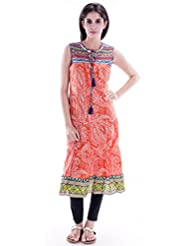AARR Round Neck Casual Sleeveless Anarkali Kurta