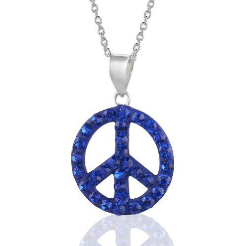 "Handmade Capri Blue Crystal Glass Girls & Tweens Peace/Love Pendant Necklace, 16"" Fashion Jewelry"