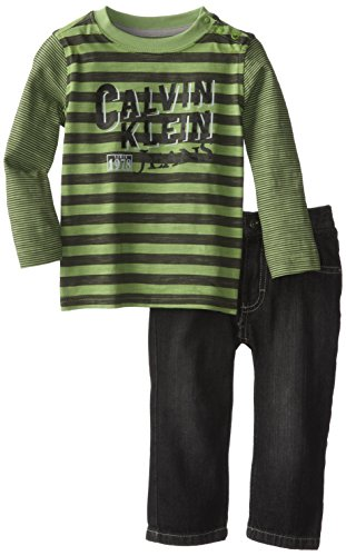 Calvin Klein Baby-Boys Infant Green Stripes Tee With Jeans, Green, 24 Months