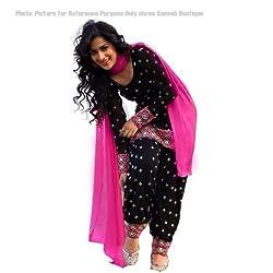 StarMart Women Cotton Dress material (SM-002_Black_Black_Free Size)