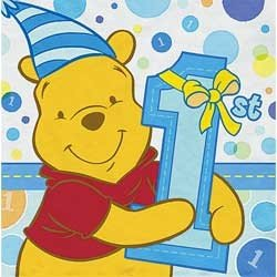 Pooh's 1st Birthday Boy Lunch Napkins 16ct