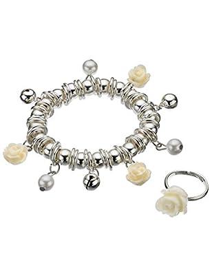 Monsoon Filles Parure composée d'un bracelet et d'une bague motif grelots et boutons de roses Taille Taille unique Argent