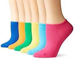 Hue Women\'s Cotton Liner Sock 6-Pack, Bright, One Size