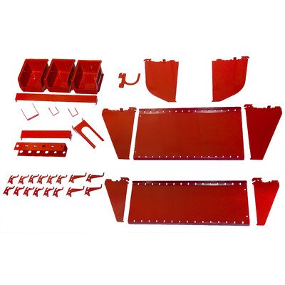 Wall Control Slotted Tool Board Workstation Accessory Kit for Wall Control Pegboard and Slotted Tool Board Red