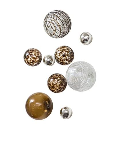 Worldly Goods Set of 9 Glass Wall Spheres Wall Spheres, Chocolate/White