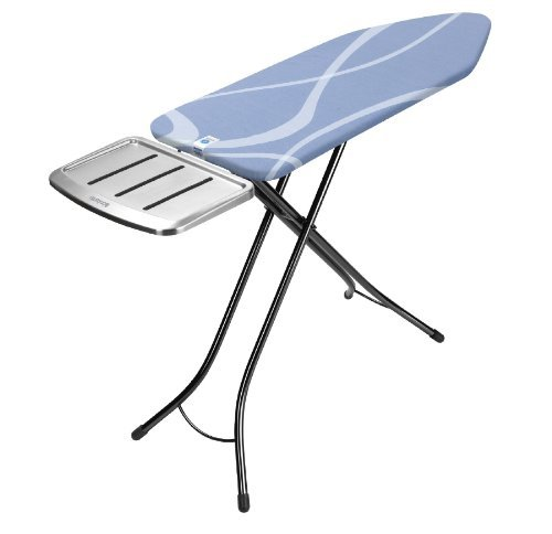 Brabantia 100468 124 by 45-Inch Ironing Board with 22mm Metallic Black Frame and Swirl Cover Stainless Steel Solid Steam Unit Holder