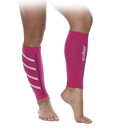 Gabor Fitness Graduated 20-25mm Hg Compression Running Leg Sleeves, Medium, Pink