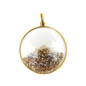14K Yellow Gold 62.47ct Crystal Natural Diamond Fashion Shaker Pendant Handmade Jewelry Couturechics