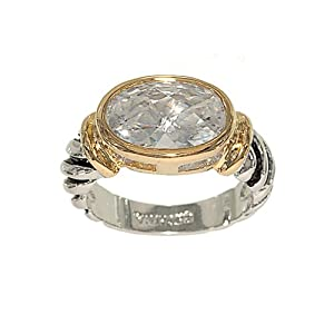 Special Gold Two Tone Twisted Band with Black Accent and Oval Cushion Cut Cubic Zirconia Fashion Ring Size 7