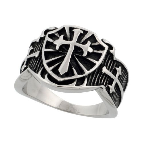 Surgical Steel Biker Ring St. James Cross 5/8 inch long, size 10