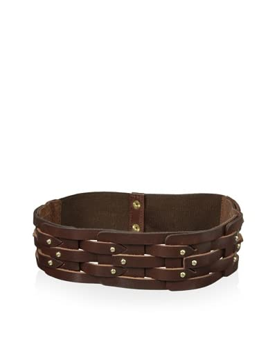 Vince Camuto Women's Studded Leather Waist Belt  [Brown]