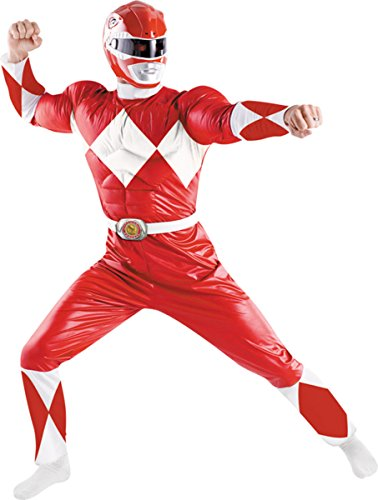 Disguise Costumes Men's Power Ranger Red Adult, Red/White, 42-46