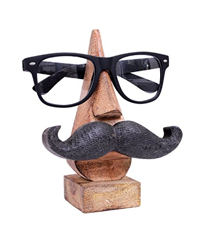 Christmas Gifts Fun Hand Crafted Wooden Moustache Themed Spectacle Holder