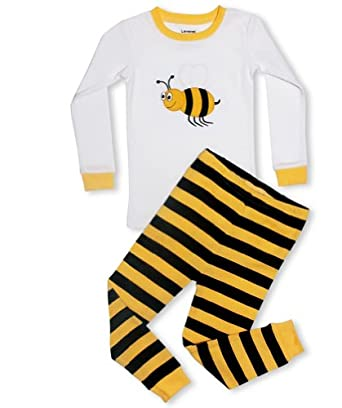 """Leveret Little Girls,Boys """"Bumble Bee"""" 2 Piece Pajama 100% Cotton (6M-8 Years) (6-12 months)"""