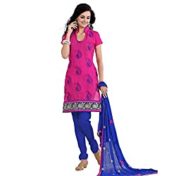 Parabdhani Fashion Women's Chanderi Semi Stitched Suit (PBF_DM_95_Pink_Free Size)