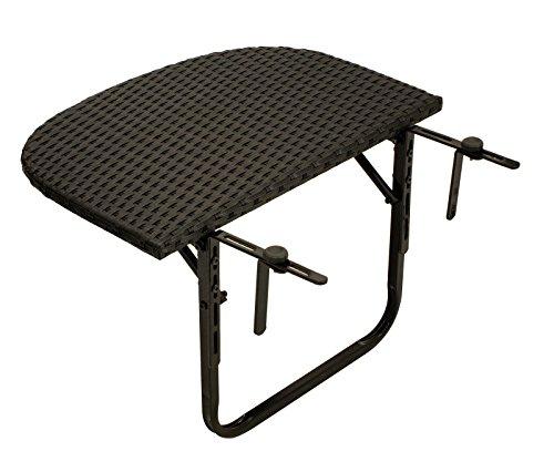 Balkonhängetisch 60x40cm, Metall + Polyrattan schwarz